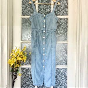 Light Blue Chambray Overall Jumper Dress